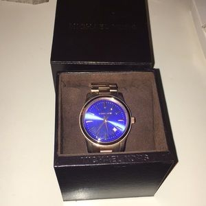 Blue and gold Michaels Kors watch